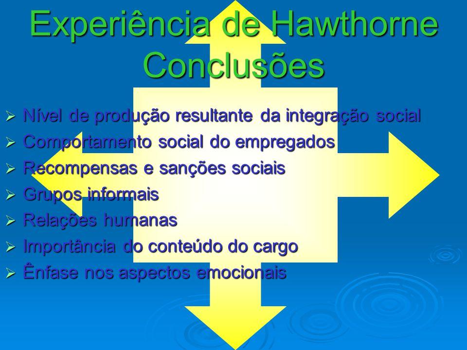Experiência de Hawthorne 3ª Fase  Programa de entrevistas com funcionários  Descobrimento de uma Organização Informal  Lealdade entre os funcionári