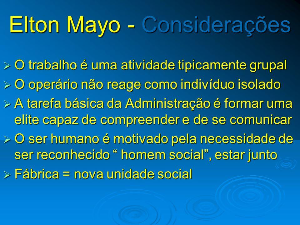 Experiência de Hawthorne Conclusões  Nível de produção resultante da integração social  Comportamento social do empregados  Recompensas e sanções s
