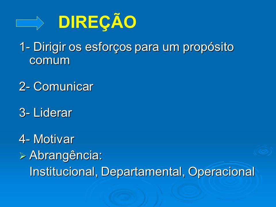 ORGANIZAÇÃO 1- Dividir o trabalho. 2- Agrupar as atividades em uma estrutura lógica. 3- Designar as pessoas para a sua execução. 4- Alocar os recursos