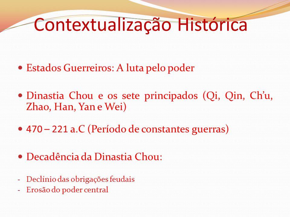 Contextualização Histórica Estados Guerreiros: A luta pelo poder Dinastia Chou e os sete principados (Qi, Qin, Ch'u, Zhao, Han, Yan e Wei) 470 – 221 a