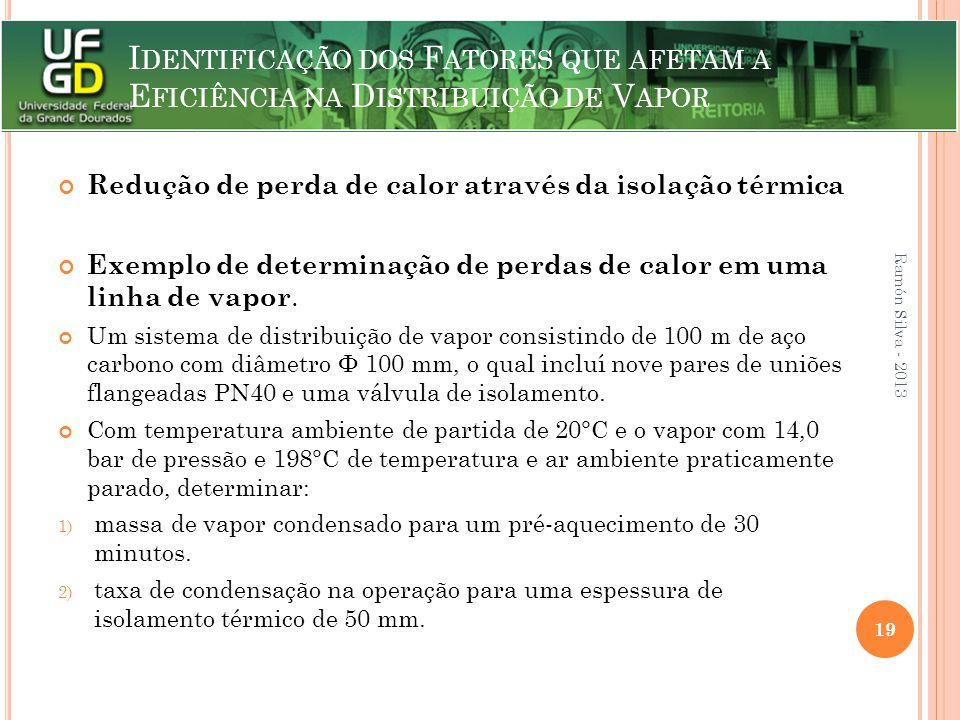 I DENTIFICAÇÃO DOS F ATORES QUE AFETAM A E FICIÊNCIA NA D ISTRIBUIÇÃO DE V APOR Redução de perda de calor através da isolação térmica Exemplo de deter
