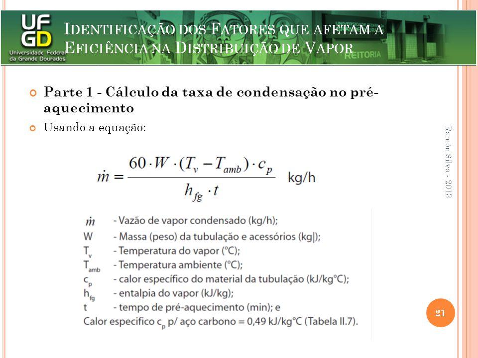 I DENTIFICAÇÃO DOS F ATORES QUE AFETAM A E FICIÊNCIA NA D ISTRIBUIÇÃO DE V APOR Parte 1 - Cálculo da taxa de condensação no pré- aquecimento Usando a