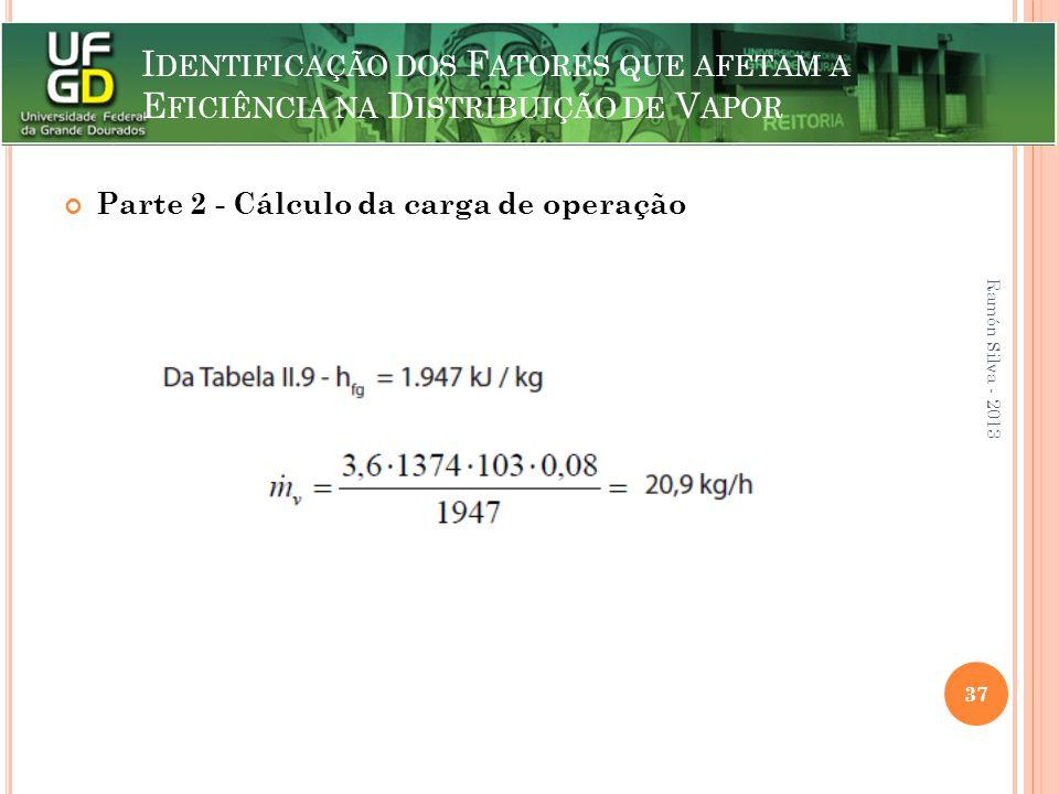 I DENTIFICAÇÃO DOS F ATORES QUE AFETAM A E FICIÊNCIA NA D ISTRIBUIÇÃO DE V APOR Parte 2 - Cálculo da carga de operação Ramón Silva - 2013 37