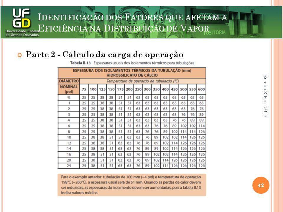 I DENTIFICAÇÃO DOS F ATORES QUE AFETAM A E FICIÊNCIA NA D ISTRIBUIÇÃO DE V APOR Parte 2 - Cálculo da carga de operação Ramón Silva - 2013 42