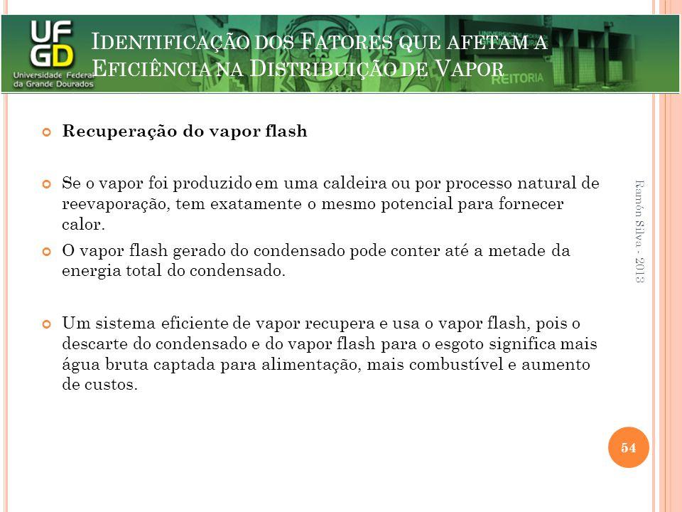 I DENTIFICAÇÃO DOS F ATORES QUE AFETAM A E FICIÊNCIA NA D ISTRIBUIÇÃO DE V APOR Recuperação do vapor flash Se o vapor foi produzido em uma caldeira ou