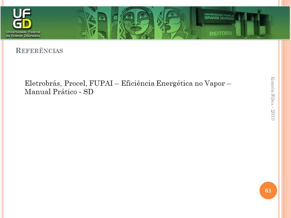 R EFERÊNCIAS Eletrobrás, Procel, FUPAI – Eficiência Energética no Vapor – Manual Prático - SD Ramón Silva - 2013 61