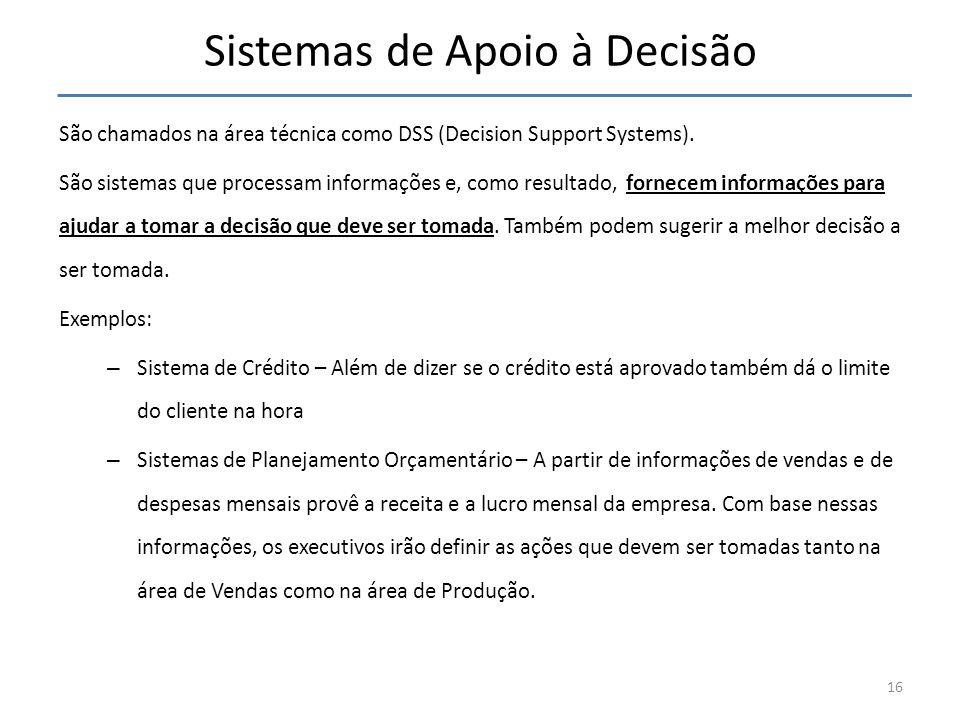 Sistemas de Apoio à Decisão São chamados na área técnica como DSS (Decision Support Systems). São sistemas que processam informações e, como resultado