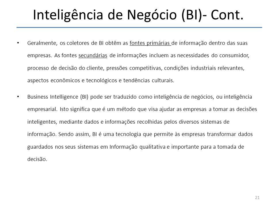 Inteligência de Negócio (BI)- Cont. 21 Geralmente, os coletores de BI obtêm as fontes primárias de informação dentro das suas empresas. As fontes secu