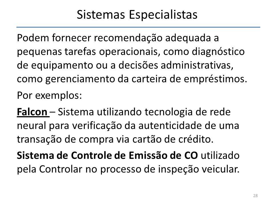Sistemas Especialistas Podem fornecer recomendação adequada a pequenas tarefas operacionais, como diagnóstico de equipamento ou a decisões administrat