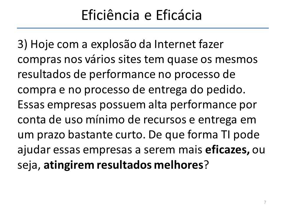 3) Hoje com a explosão da Internet fazer compras nos vários sites tem quase os mesmos resultados de performance no processo de compra e no processo de