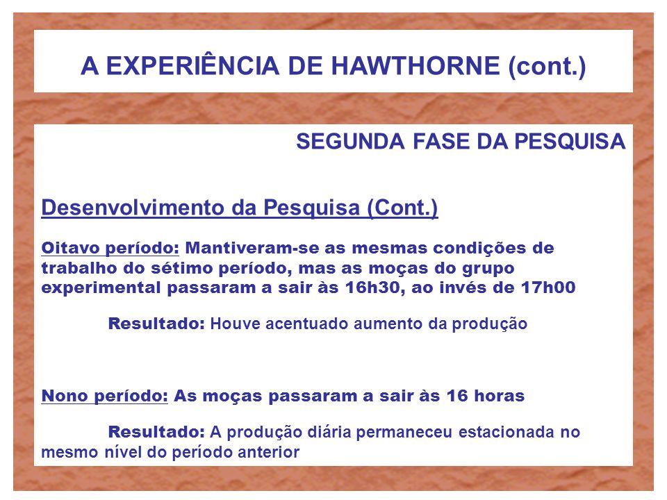 A EXPERIÊNCIA DE HAWTHORNE (cont.) SEGUNDA FASE DA PESQUISA Desenvolvimento da Pesquisa (Cont.) Sexto período: Deram-se três intervalos de descanso de