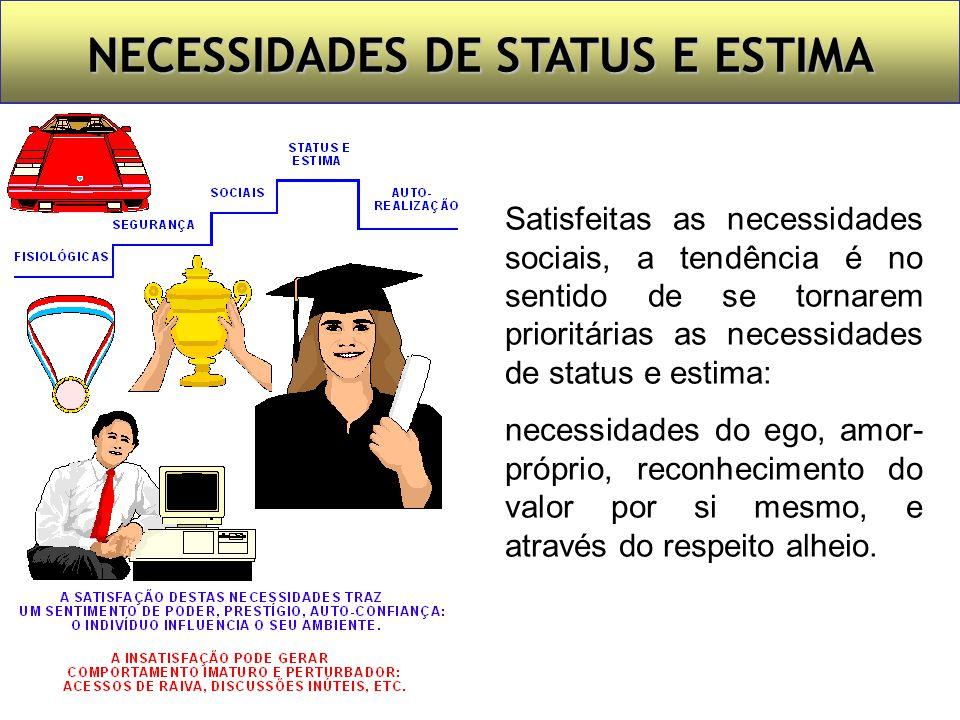 NECESSIDADES SOCIAIS Satisfeitas as necessidades de segurança, a tendência é no sentido de passarem a ser prioritárias as necessidades sociais: partic
