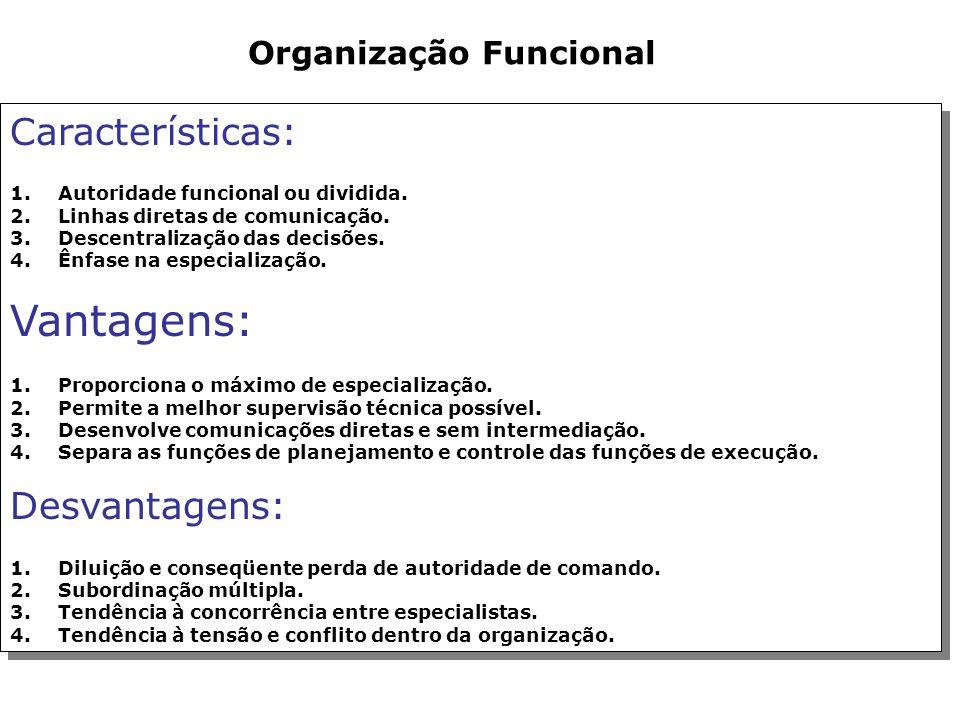 Organização Linear Características: 1.Autoridade linear ou única. 2.Linhas formais de comunicação. 3.Centralização das decisões. 4.Aspecto piramidal.