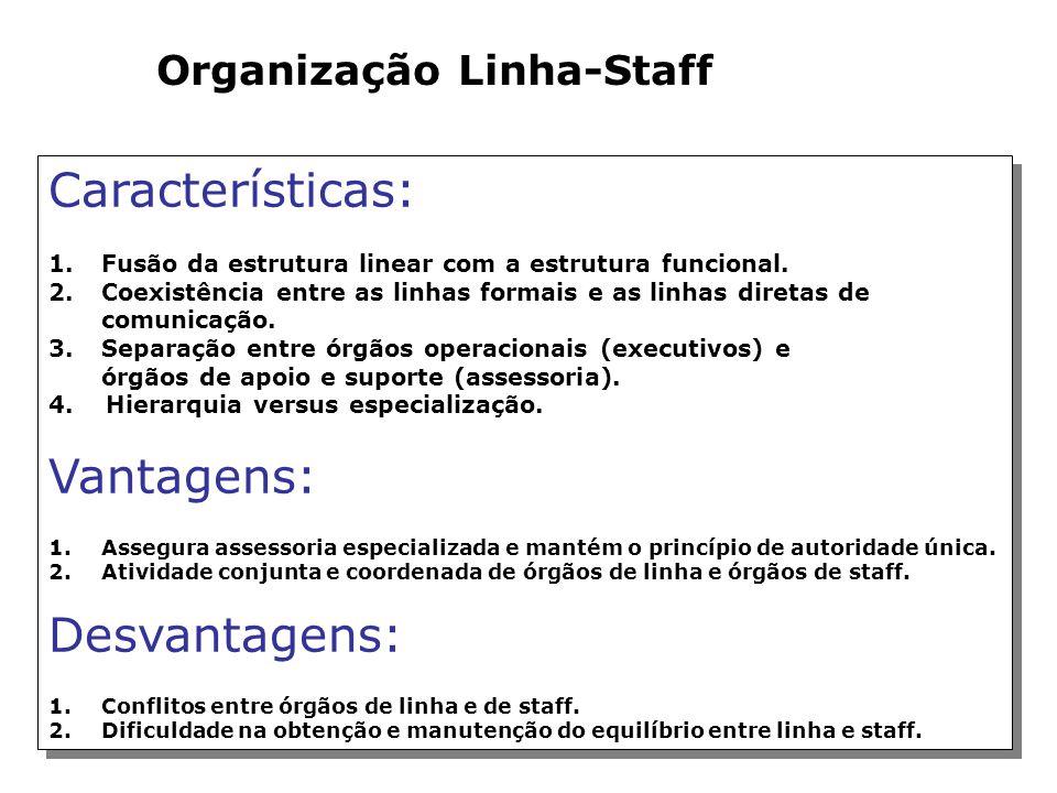 Organização Funcional Características: 1.Autoridade funcional ou dividida. 2.Linhas diretas de comunicação. 3.Descentralização das decisões. 4.Ênfase