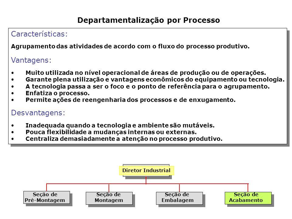 Características: Agrupamento das atividades de acordo com os tipos de clientes servidos. Vantagens: Quando a satisfação do cliente é o aspecto mais cr