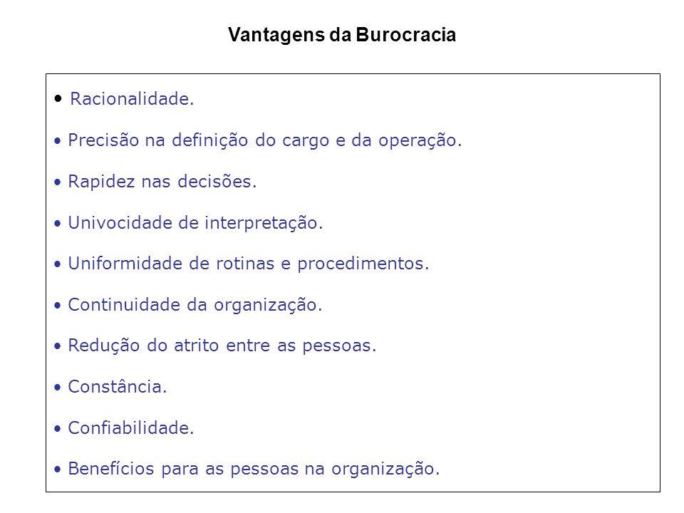 Características da Burocracia segundo Weber 1.Caráter legal das normas e regulamentos. 2.Caráter formal das comunicações. 3.Caráter racional e divisão