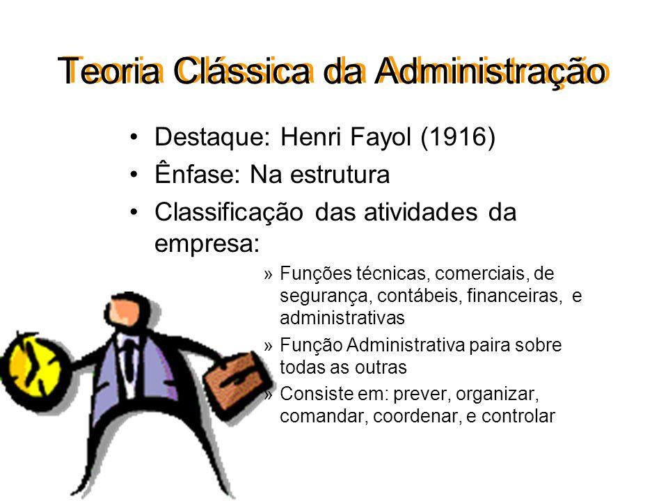 Henri Fayol (1841, Constantinopla -1925, Paris) Engenheiro de Minas. Fundador da Teoria Clássica Administration Industrielle et Générale (Paris, 1916)