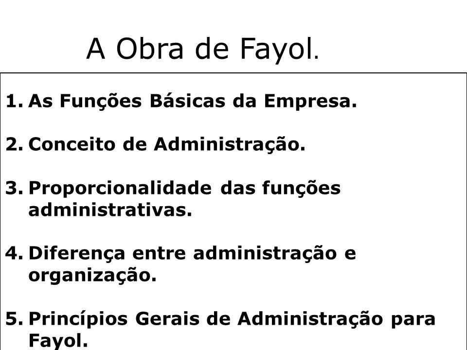 Teoria Clássica da Administração Destaque: Henri Fayol (1916) Ênfase: Na estrutura Classificação das atividades da empresa: »Funções técnicas, comerci