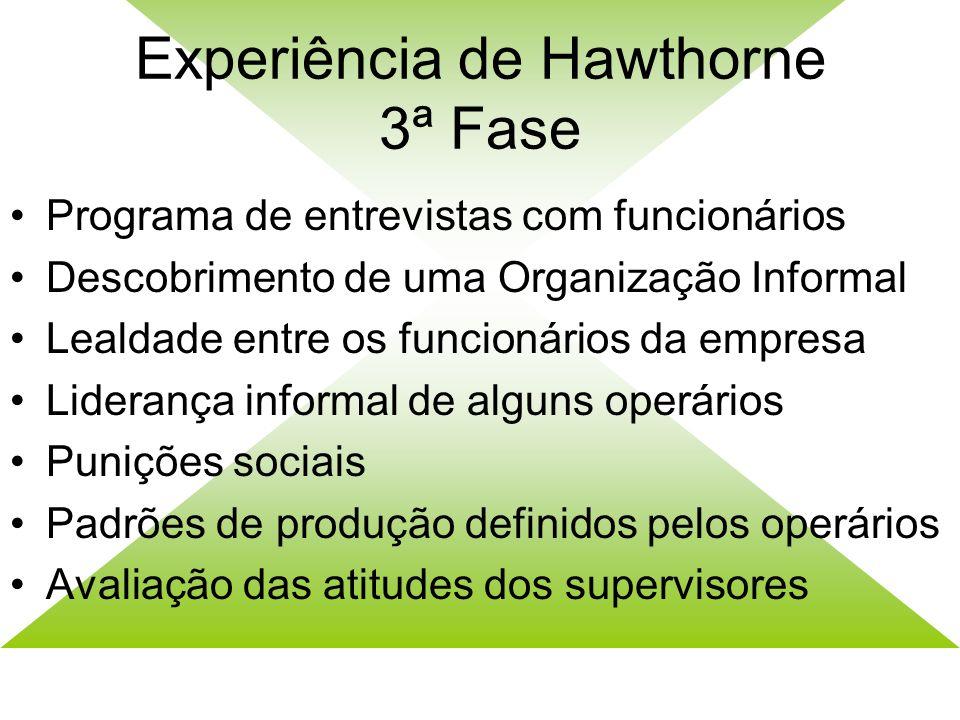 Experiência de Hawtorne 2ª Fase Comparativo entre o grupo de controle e o grupo experimental Mudanças nas condições de trabalho no grupo experimental
