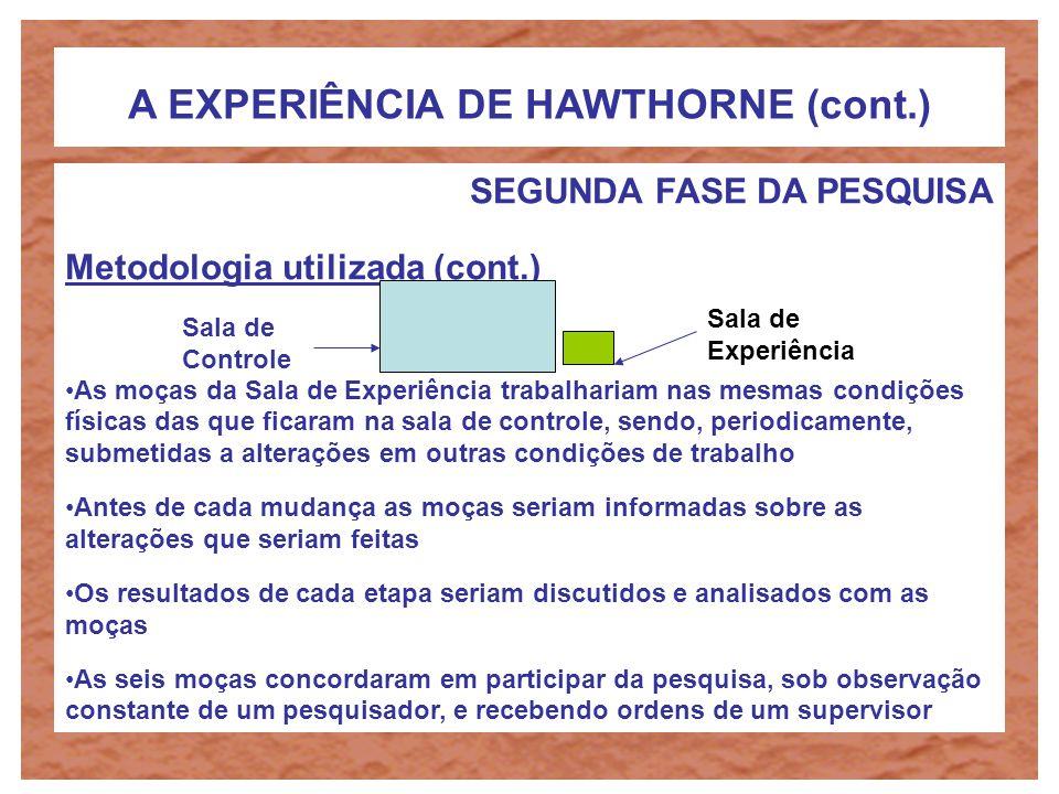 A EXPERIÊNCIA DE HAWTHORNE (cont.) SEGUNDA FASE DA PESQUISA Objetivo Estudar de que forma fatores psicológicos influenciavam a produtividade dos operá