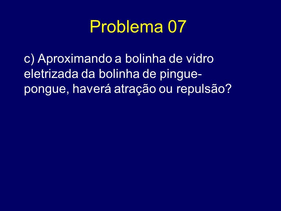 Problema 07 c) Aproximando a bolinha de vidro eletrizada da bolinha de pingue- pongue, haverá atração ou repulsão?