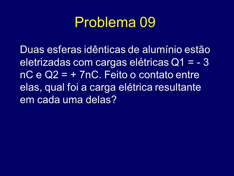 Problema 09 Duas esferas idênticas de alumínio estão eletrizadas com cargas elétricas Q1 = - 3 nC e Q2 = + 7nC. Feito o contato entre elas, qual foi a