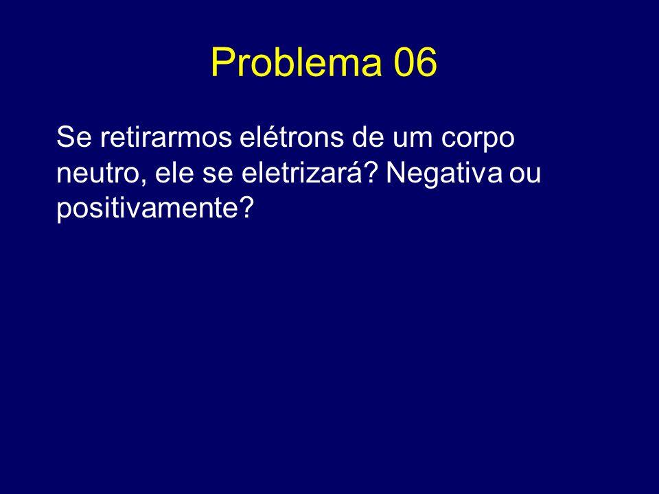 Problema 06 Se retirarmos elétrons de um corpo neutro, ele se eletrizará? Negativa ou positivamente?