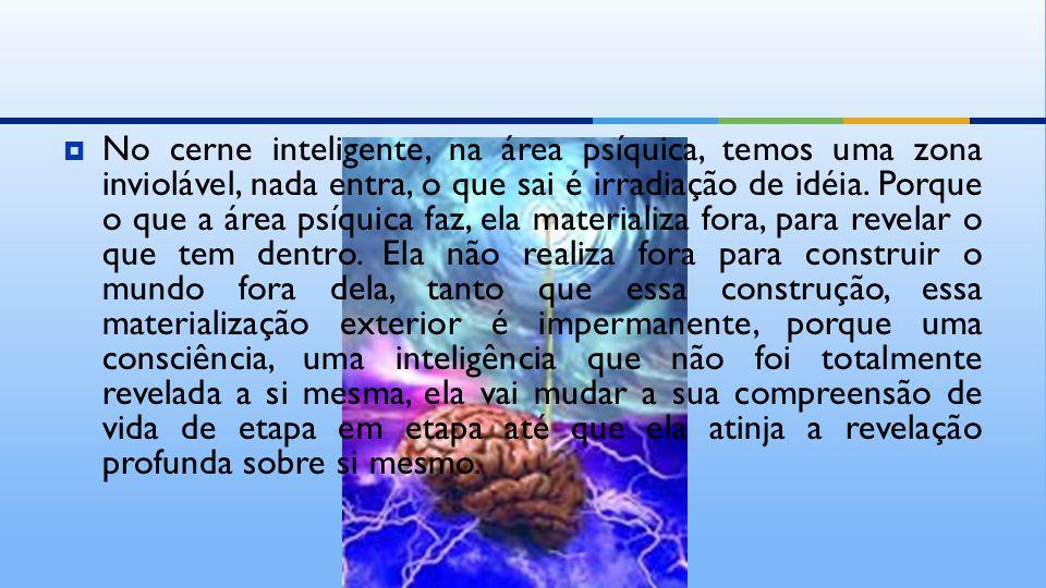  No cerne inteligente, na área psíquica, temos uma zona inviolável, nada entra, o que sai é irradiação de idéia.