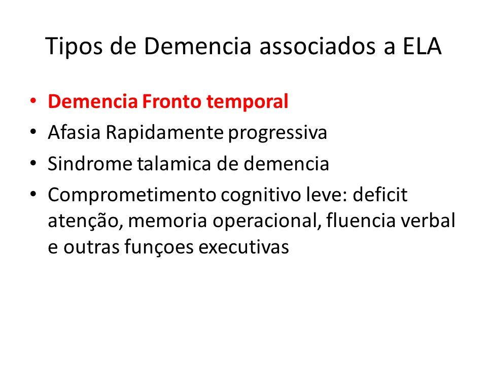 Overlap ELA-DFT 20-50% pacientes com ELA preenchem criterios p/ DFT provavel ou definitva Quadro clinico inclui: deficit funçoes executivas, deficit atenção e de memoria operacional.