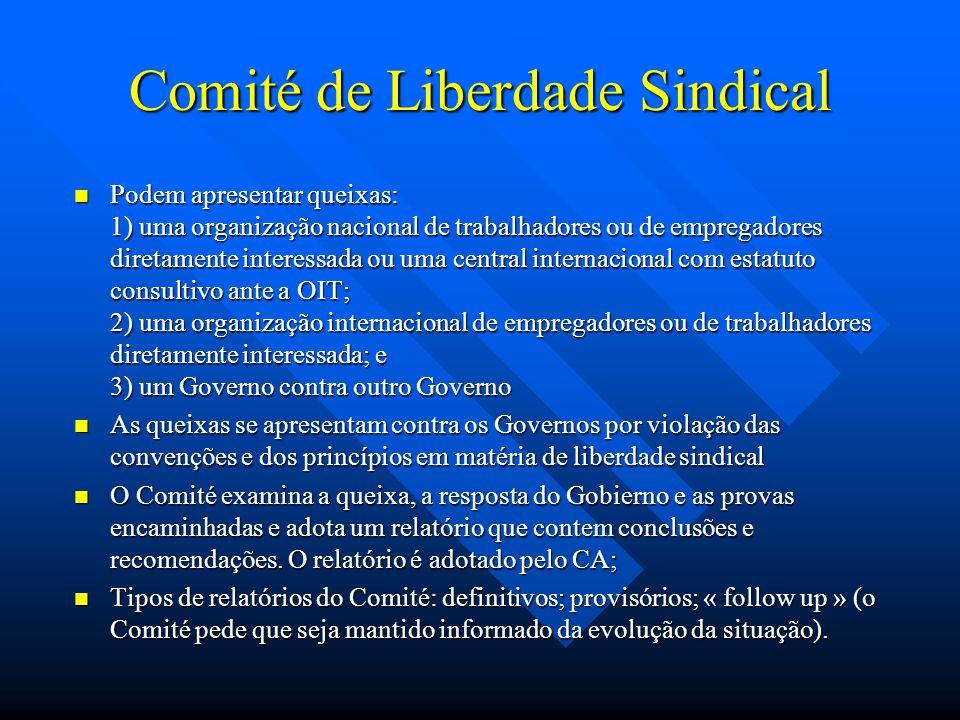 Comité de Liberdade Sindical Podem apresentar queixas: 1) uma organização nacional de trabalhadores ou de empregadores diretamente interessada ou uma