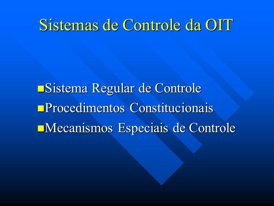 Sistema de controle regular Comissão de Especialistas em Aplicação de Convenções e Recomendações (examina a conformidade das legislações e da prática dos países com as convenções ratificadas)