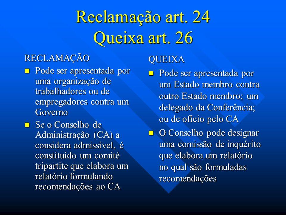Reclamação art. 24 Queixa art. 26 RECLAMAÇÃO Pode ser apresentada por uma organização de trabalhadores ou de empregadores contra um Governo Pode ser a