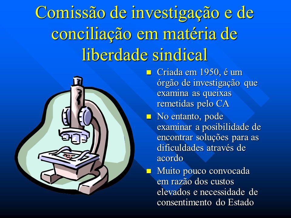 Comissão de investigação e de conciliação em matéria de liberdade sindical Criada em 1950, é um órgão de investigação que examina as queixas remetidas