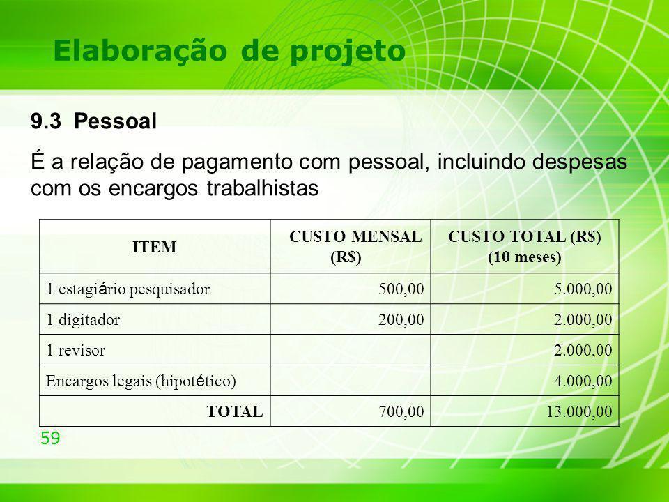 59 Elaboração de projeto 9.3 Pessoal É a relação de pagamento com pessoal, incluindo despesas com os encargos trabalhistas ITEM CUSTO MENSAL (R$) CUST