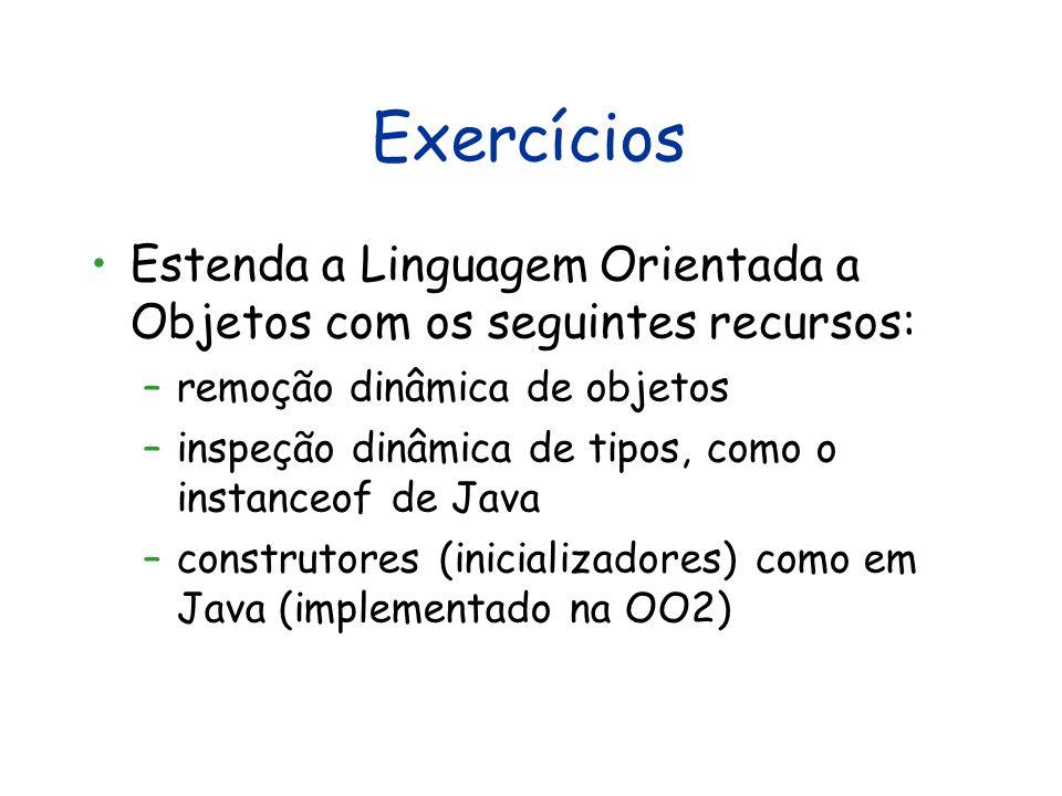 Exercícios Estenda a Linguagem Orientada a Objetos com os seguintes recursos: –remoção dinâmica de objetos –inspeção dinâmica de tipos, como o instanceof de Java –construtores (inicializadores) como em Java (implementado na OO2)
