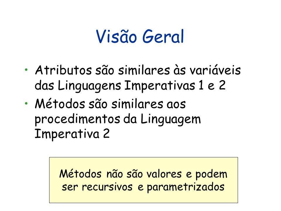 Visão Geral Atributos são similares às variáveis das Linguagens Imperativas 1 e 2 Métodos são similares aos procedimentos da Linguagem Imperativa 2 Métodos não são valores e podem ser recursivos e parametrizados