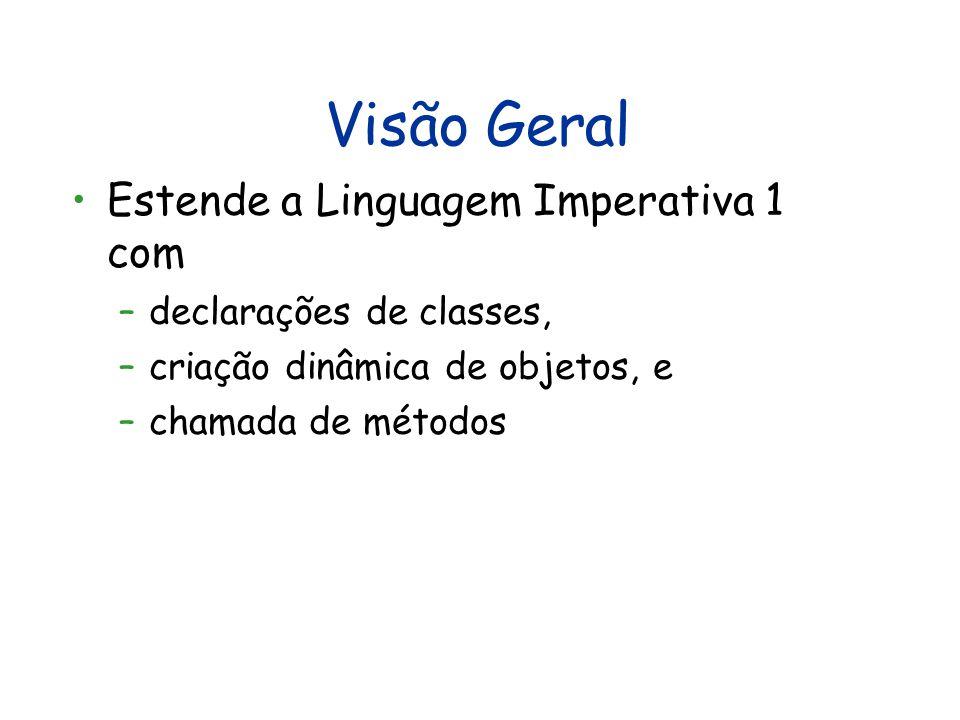 Visão Geral Estende a Linguagem Imperativa 1 com –declarações de classes, –criação dinâmica de objetos, e –chamada de métodos