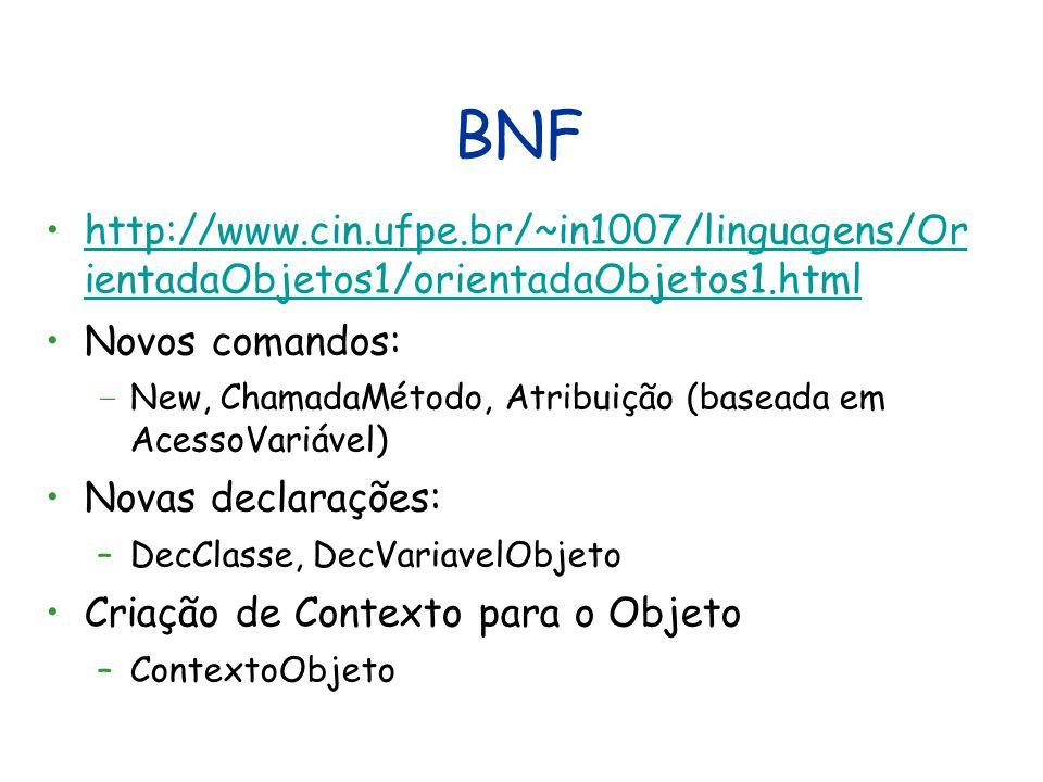 BNF http://www.cin.ufpe.br/~in1007/linguagens/Or ientadaObjetos1/orientadaObjetos1.htmlhttp://www.cin.ufpe.br/~in1007/linguagens/Or ientadaObjetos1/orientadaObjetos1.html Novos comandos: – New, ChamadaMétodo, Atribuição (baseada em AcessoVariável) Novas declarações: –DecClasse, DecVariavelObjeto Criação de Contexto para o Objeto –ContextoObjeto