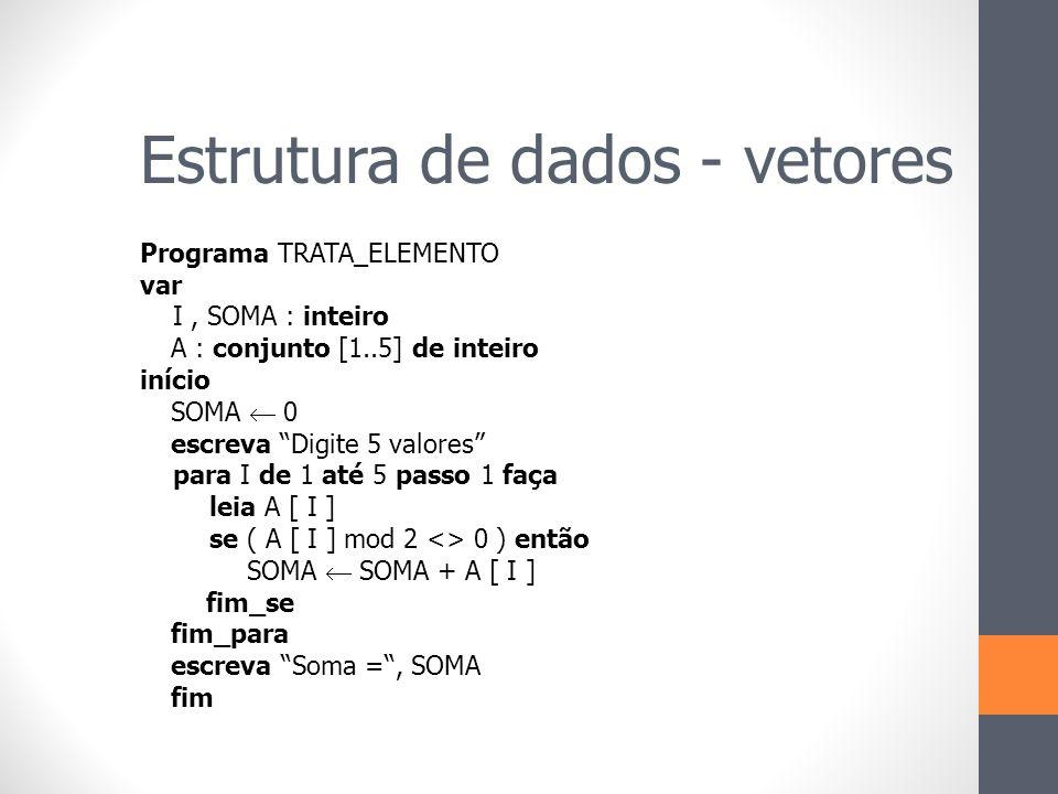"""Programa TRATA_ELEMENTO var I, SOMA : inteiro A : conjunto [1..5] de inteiro início SOMA  0 escreva """"Digite 5 valores"""" para I de 1 até 5 passo 1 faça"""
