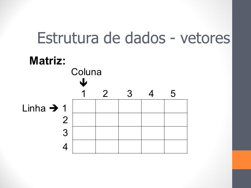 1 2 3 4 5 Coluna  Linha  1 2 3 4 Matriz: Estrutura de dados - vetores