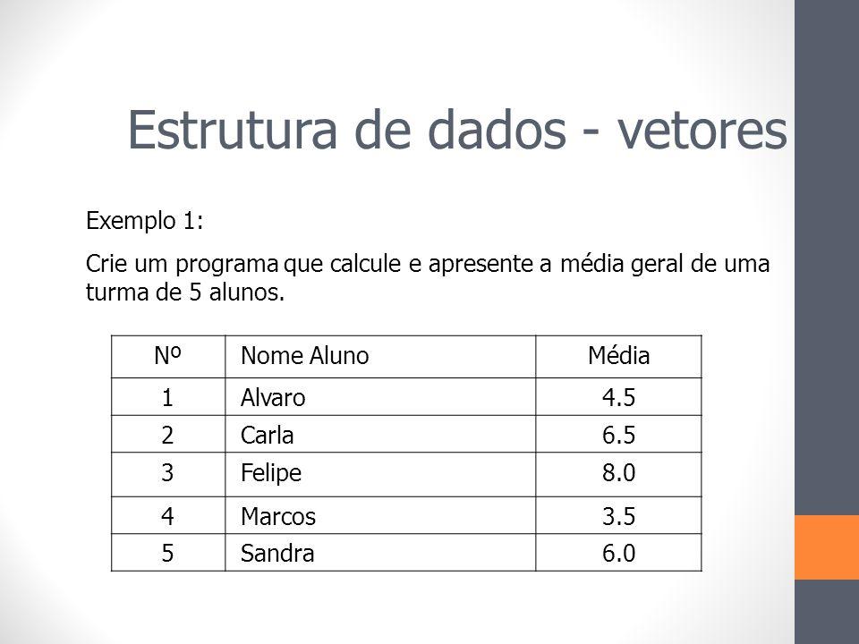 Nº Nome AlunoMédia 1 Alvaro4.5 2 Carla6.5 3 Felipe8.0 4 Marcos3.5 5 Sandra6.0 Exemplo 1: Crie um programa que calcule e apresente a média geral de uma