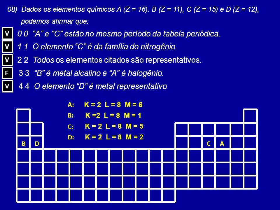 """A B C D 0 0 """"A"""" e """"C"""" estão no mesmo período da tabela periódica. 1 1 O elemento """"C"""" é da família do nitrogênio. 2 2 Todos os elementos citados são re"""