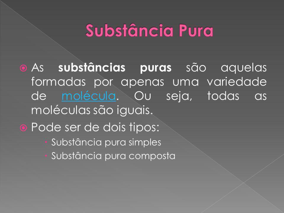  As substâncias puras simples são formadas por apenas um elemento químico.