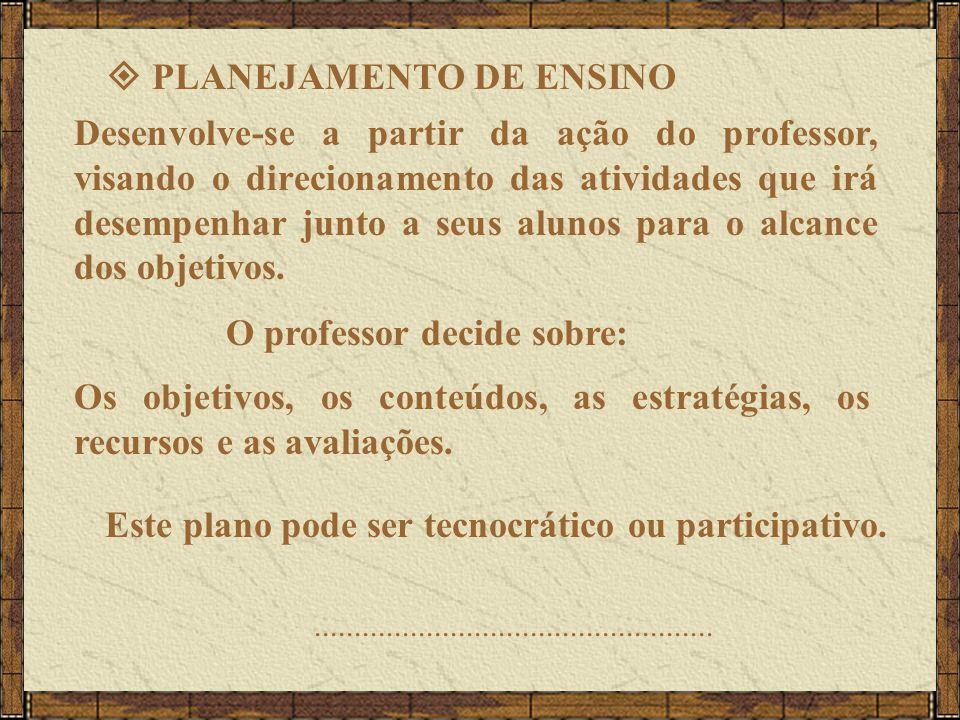 PLANEJAMENTO DE ENSINO Desenvolve-se a partir da ação do professor, visando o direcionamento das atividades que irá desempenhar junto a seus alunos para o alcance dos objetivos.