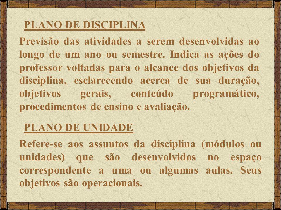 PLANO DE DISCIPLINA Previsão das atividades a serem desenvolvidas ao longo de um ano ou semestre.