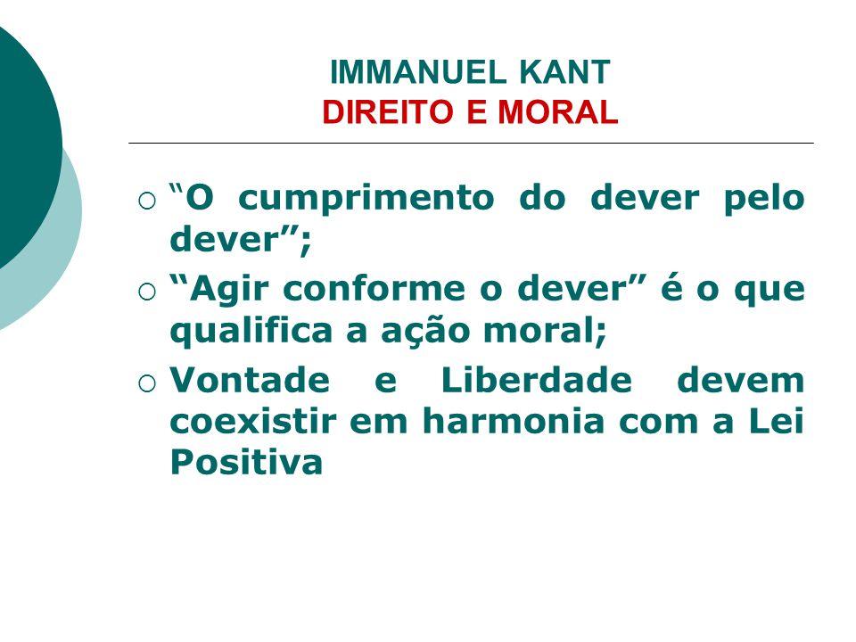 """IMMANUEL KANT DIREITO E MORAL  """"O cumprimento do dever pelo dever"""";  """"Agir conforme o dever"""" é o que qualifica a ação moral;  Vontade e Liberdade d"""