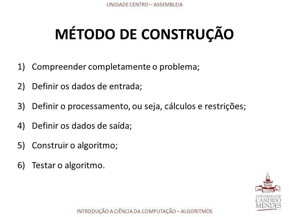 UNIDADE CENTRO – ASSEMBLEIA INTRODUÇÃO A CIÊNCIA DA COMPUTAÇÃO – ALGORITMOS MÉTODO DE CONSTRUÇÃO 1)Compreender completamente o problema; 2)Definir os