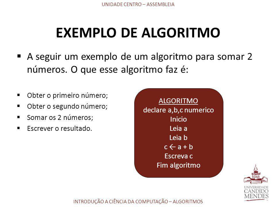 UNIDADE CENTRO – ASSEMBLEIA INTRODUÇÃO A CIÊNCIA DA COMPUTAÇÃO – ALGORITMOS EXEMPLO DE ALGORITMO  A seguir um exemplo de um algoritmo para somar 2 nú