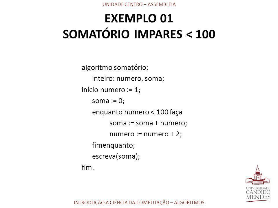 UNIDADE CENTRO – ASSEMBLEIA INTRODUÇÃO A CIÊNCIA DA COMPUTAÇÃO – ALGORITMOS algoritmo somatório; inteiro: numero, soma; início numero := 1; soma := 0;