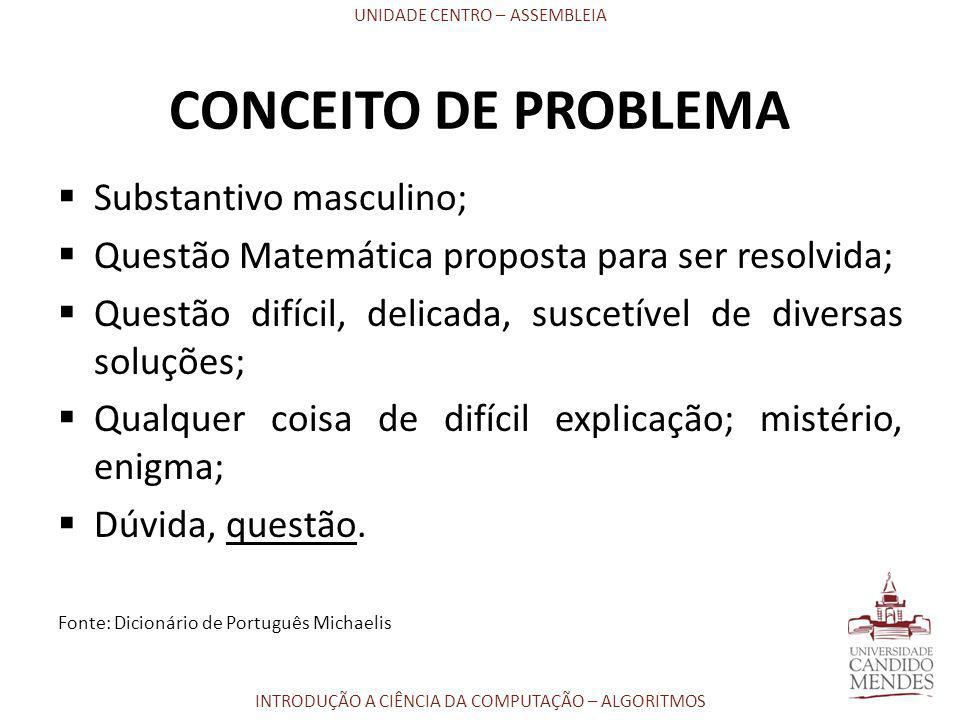 UNIDADE CENTRO – ASSEMBLEIA INTRODUÇÃO A CIÊNCIA DA COMPUTAÇÃO – ALGORITMOS CONCEITO DE PROBLEMA  Substantivo masculino;  Questão Matemática propost